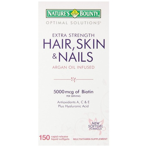 Natures Bounty Optimal Solutions Hair, Skin & Nails, Extra Strength, 5000 mcg, Coated Caplets, 150 caplets