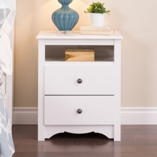 Prepac Monterey 2-Drawer White Nightstand