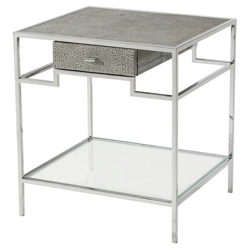 Geometric Element Nightstand, Silver