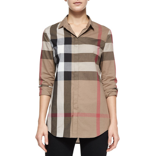 BURBERRY BRIT Long-Sleeve Button-Front Check Shirt, Taupe
