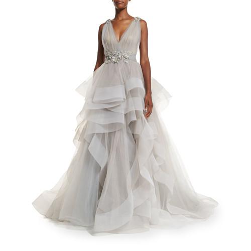 MARCHESA Sleeveless Ruffled Tulle Ball Gown, Gray