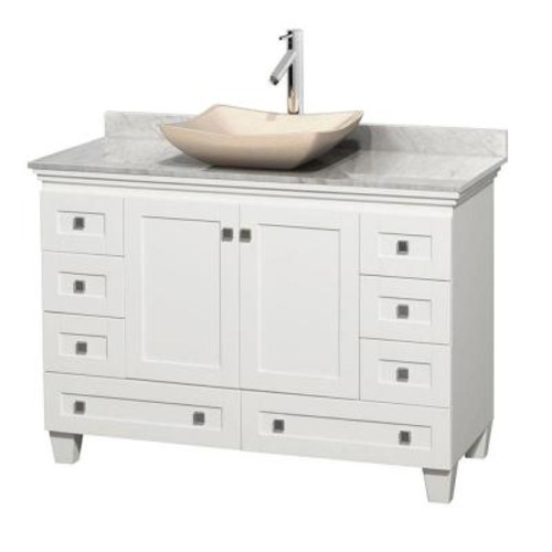 Wyndham Collection Acclaim 48 in. W Vanity in White with Marble Vanity Top in Carrara White and Ivory Marble Sink