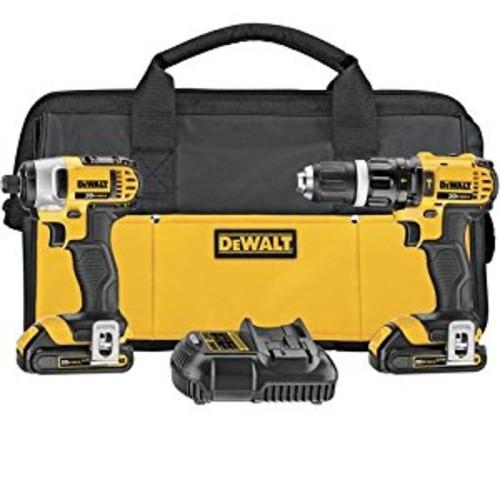 DEWALT DCK285C2 20-Volt MAX Li-Ion Compact 1.5 Ah Hammer Drill and Impact Combo Kit [2-Tool]