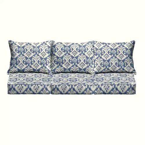 Rainford II Indigo/ Cream Indoor/ Outdoor Corded Pillow and Cushion 6-pc Sofa Set