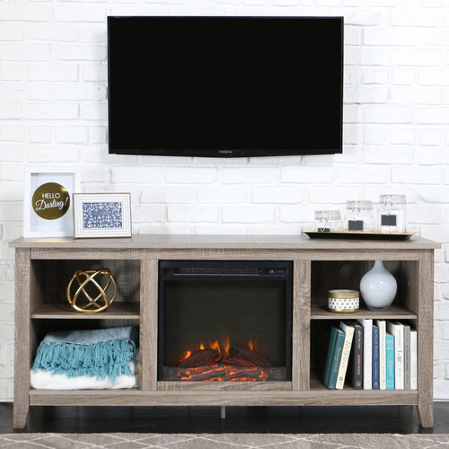 Walker Edison Driftwood TV Stand with Fireplace Insert for TVs up to 60