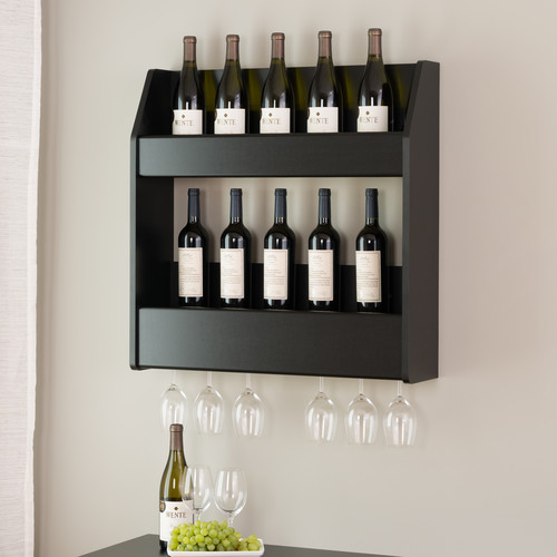 Prepac 2-Tier Floating Wine and Liquor Rack in Black
