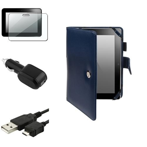 INSTEN Blue Leather Case Cover+Clear Shield+USB+Car Charger For Amazon Kindle Fire HD 7 (designed for 2012 version ONLY)