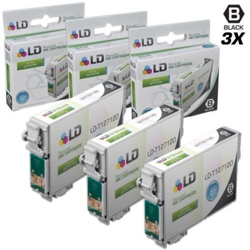 LD Epson Remanufactured T127 Set of 3 Extra HY Ink Cartridges: 3 Black T127120 for Stylus NX530, NX625, WorkForce 3520,