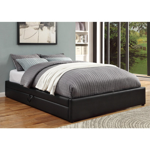 Coaster Company Black Faux Leather Queen-size Storage Bed
