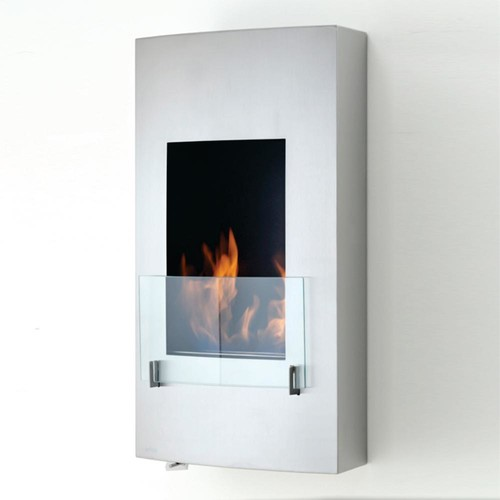Hollywood 18 in. Ethanol Wall Mounted Fireplace in Stainless Steel