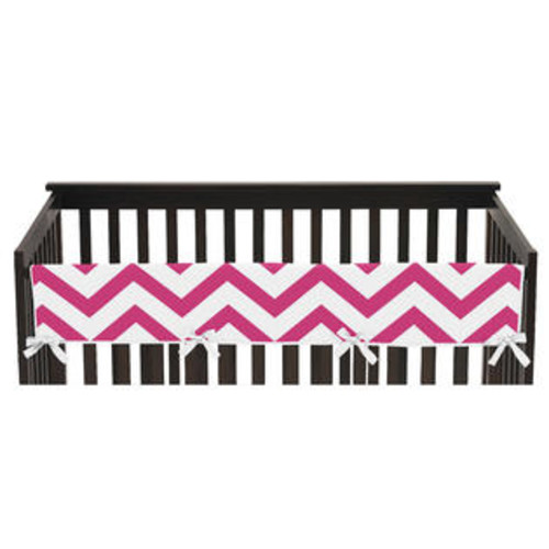 Sweet Jojo Designs Chevron Collection Pink and White Long Crib Rail Guard Cover