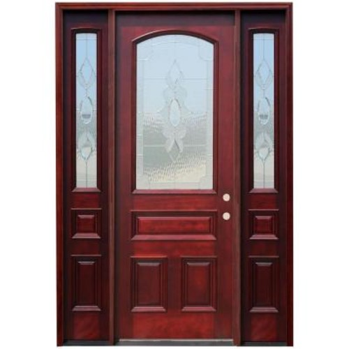 Pacific Entries 66in.x96in. Traditional 3/4 Arch Lt Stained Mahogany Wood Prehung Front Door w/12in. Sidelites and 8 ft. Height Series