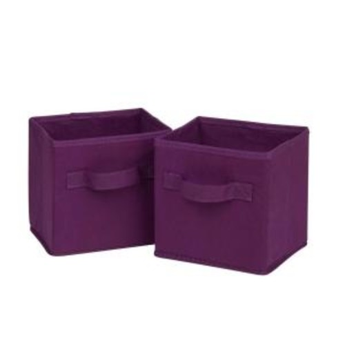 Honey-Can-Do 4.9 Qt. Mini Non-Woven Foldable Cube Bin in Purple (6-Pack)
