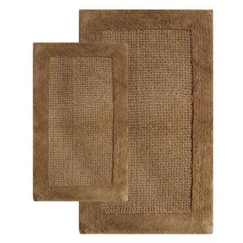 Chesapeake Merchandising 21 in. x 34 in. and 24 in. x 40 in. 2-Piece Naples Bath Rug Set in Linen