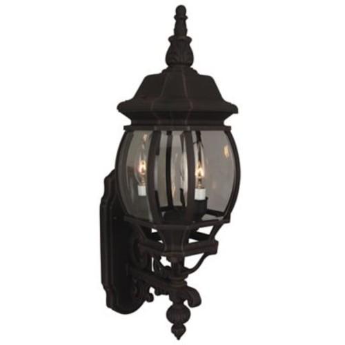 Charlton Home Oakhill Glass 3-Light Outdoor Sconce; Matte Black