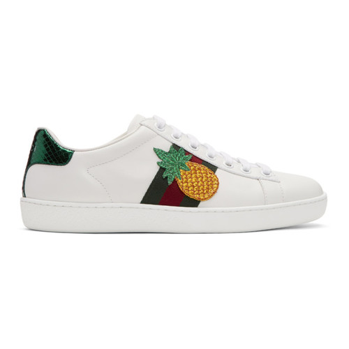 GUCCI White Pineapple & Ladybug Ace Sneakers