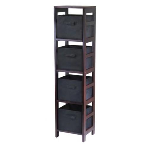 Winsome Wood Capri Wood 4 Section Storage Shelf with 4 Black Fabric Foldable Baskets [Espresso, black basket]