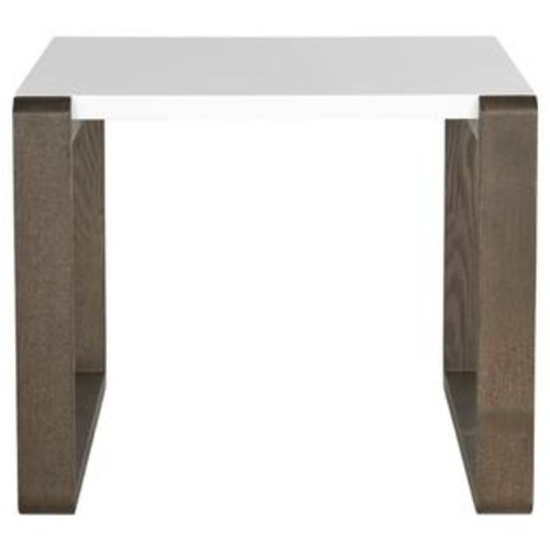 Safavieh Bartholomew End Table in White and Dark Brown