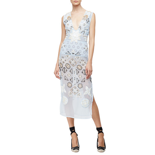 ALTUZARRA Embellished-Chiffon Eyelet Dress, Pale Blue