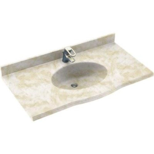 Swanstone Europa 25 in. W x 22.5 in. D Solid Surface Vanity Top with Sink in Cloud White