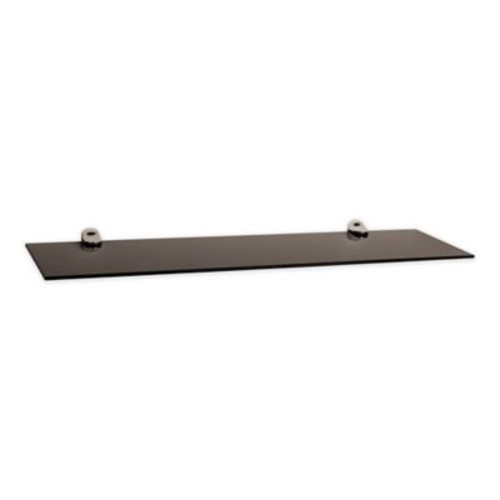 Danya B. Smoke Glass Floating Shelf with Chrome Brackets in Black