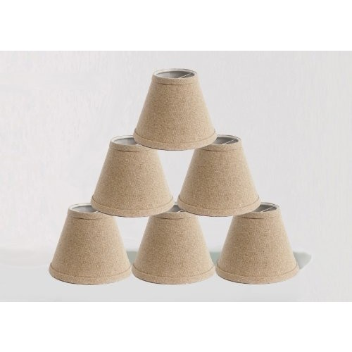 Urbanest Set of 6 Natural Pure Linen Chandelier Lamp Shade, 3-inch by 6-inch by 5-inch, Clip-on, Hardback [Natural, Set of 6]