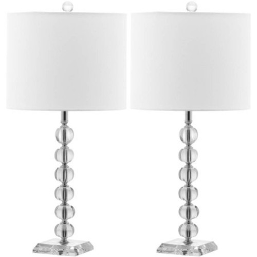 Safavieh Victoria Crystal Ball Lamp with CFL Bulb, Clear with Off-White Shade, Set of 2