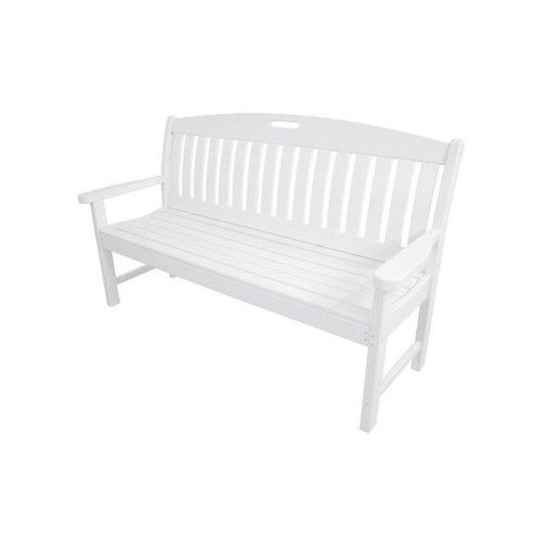 Hanover Avalon 60 in. White All-Weather Patio Porch Bench