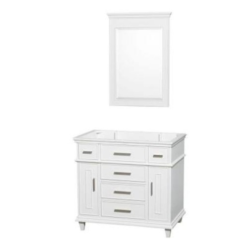 Wyndham Collection Berkeley 36 in. Vanity Cabinet with Mirror in White