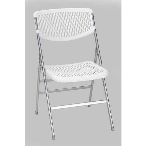 Cosco Home and Office Products White Commercial Resin Mesh Folding Chair, 4-pack