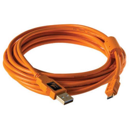 TetherPro USB 2.0 A Male to Micro-B 5-Pin Cable (15', Orange)