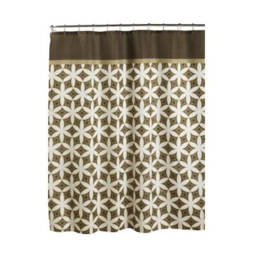 Creative Home Ideas Oxford Weave Textured 70 in. W x 72 in. L Shower Curtain with Metal Roller Rings in Harajuku Chocolate