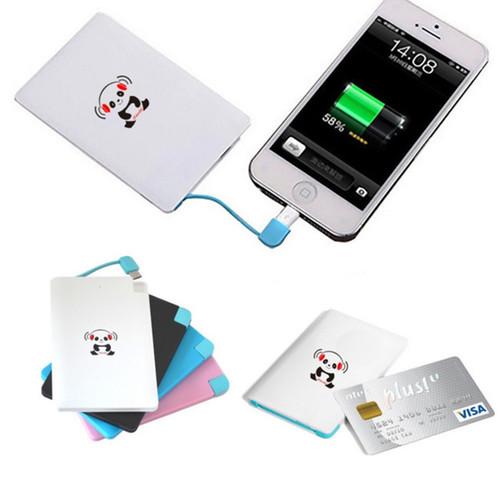 iPanda 2,200mAh Credit Card Size Universal Portable Charger [option : Blue]