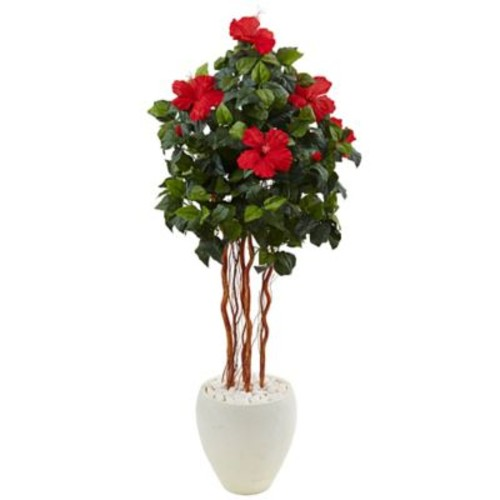 Bayou Breeze Artificial Hibiscus Floor Flowering Tree in Planter