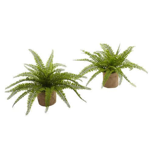 Nearly Natural Set of 2 Boston Fern with Burlap Planter