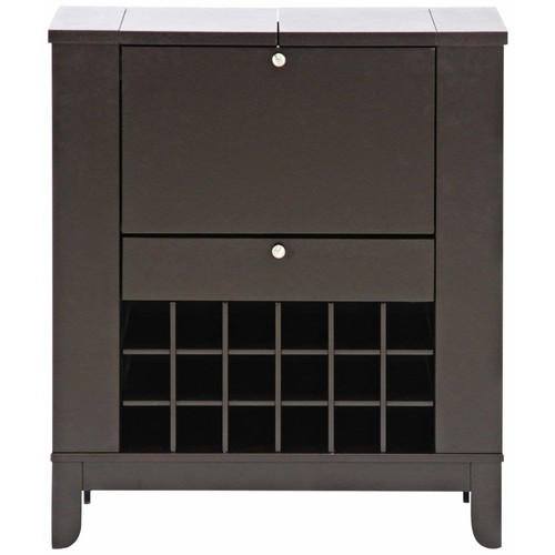 Baxton Studio Modesto Brown Modern Dry Bar and Wine Cabinet [Dark Brown]