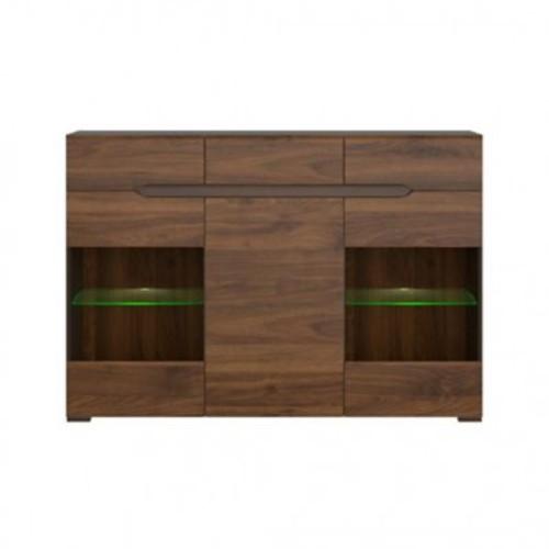 Contemp Style Elpasso 3 Drawer Accent Cabinet; Gray / Dark Brown