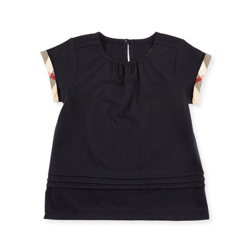 BURBERRY Gisselle Pintucked Melange Jersey Tee, Navy, Size 2