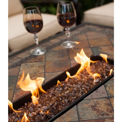 Cascadian 7-piece Red Lava Rock Gas Firepit Table Chat Set with 6 Cushioned Rocking Chairs