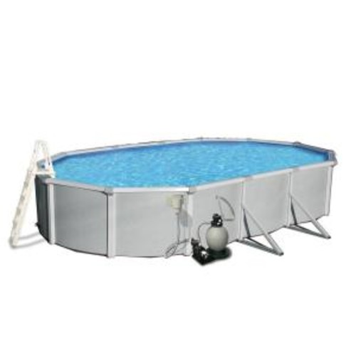 Blue Wave Samoan 12 ft. x 24 ft. Oval 52 in. Deep 8 in. Top Rail Metal Wall Swimming Pool Package