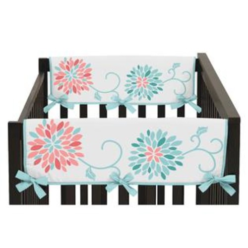 Sweet Jojo Designs Emma Collection Turquoise/Coral Brushed Microfiber Side Crib Rail Guard Covers (Set of 2)