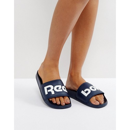 Reebok Classic Sliders With Large Logo In Navy