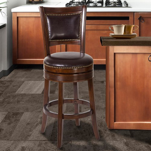 Hillsdale Furniture Lockefield 26 in. Brown Cherry Swivel Cushioned Bar Stool