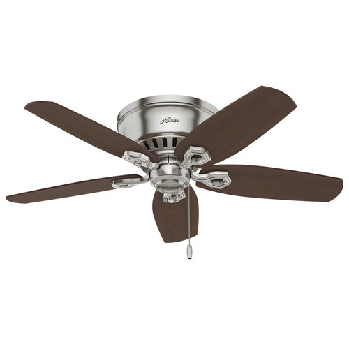 Hunter Builder Low Pro 42-in Brushed Nickel Indoor Flush Mount Ceiling Fan with Light Kit