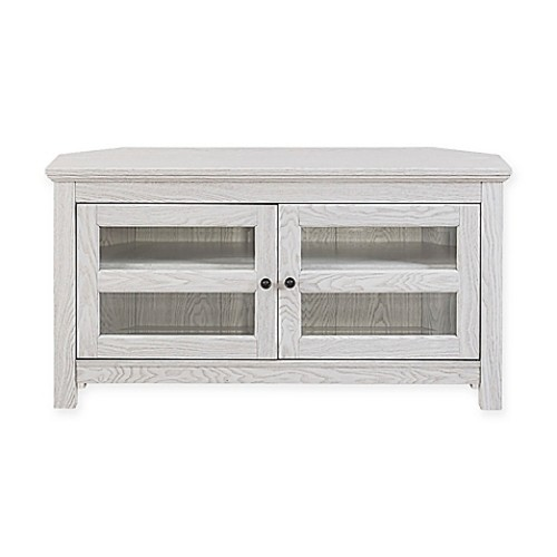 Walker Edison Corner TV Stand Console in White