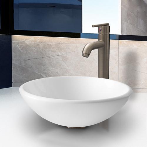 VIGO Elizabeth Phoenix Stone Vessel Bathroom Sink Set With Seville Vessel Faucet In Brushed Nickel