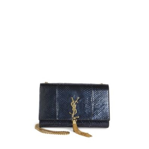 SAINT LAURENT Kate Monogram Medium Metallic Python Tassel Chain Shoulder Bag