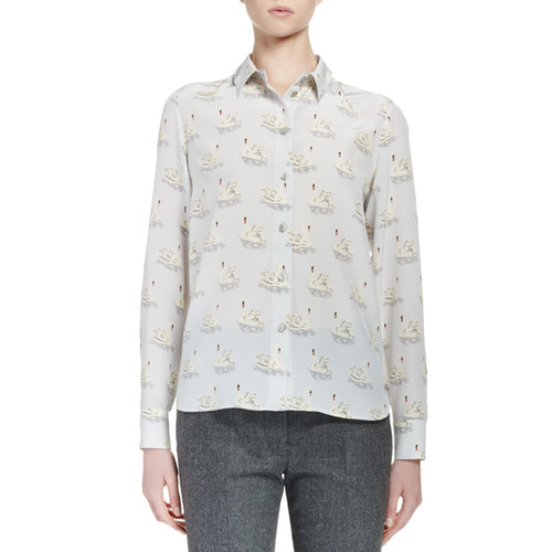 STELLA MCCARTNEY Swan-Print Crepe De Chine Blouse, Light Blue