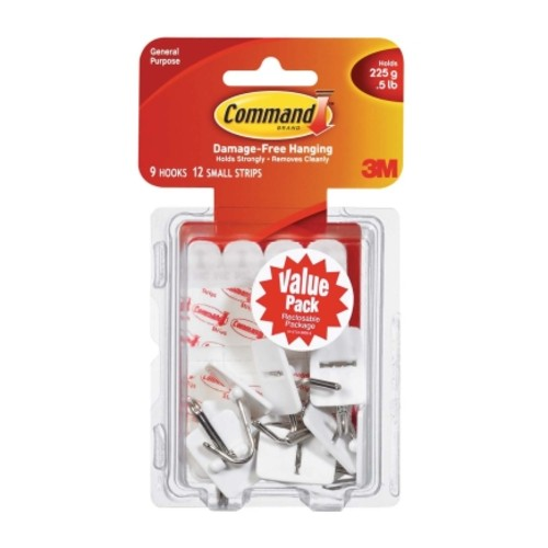 3M Command Small Wire Hook 1-5/8 in. L Plastic 1/2 lb. per Hook 9 pk(4 Pack)(17067-VP)