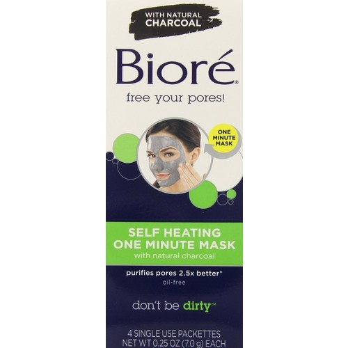 Biore One Minute Mask, Self Heating, Single Use Packets 4 packets 0.25 oz (7 g)